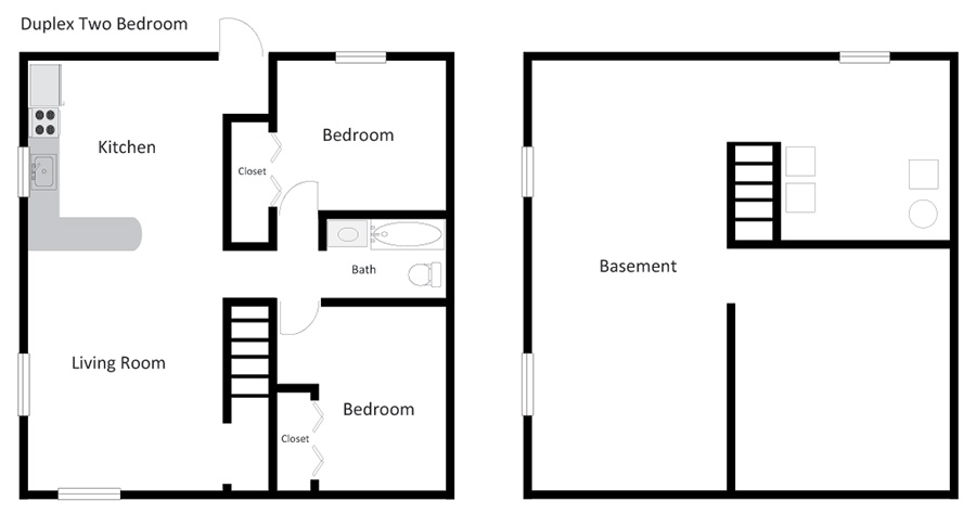 duplex two bedroom floorplan